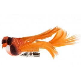 Oiseau Orange en Plumes sur Pince 6.5 cm les 4