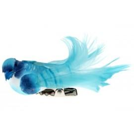 Oiseau Bleu Turquoise en Plumes sur Pince 6.5 cm les 4