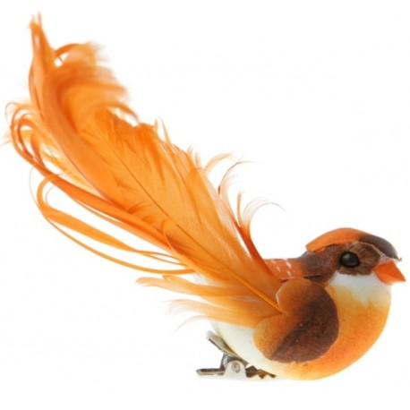 Oiseau Orange en Plumes sur Pince 12 cm les 2