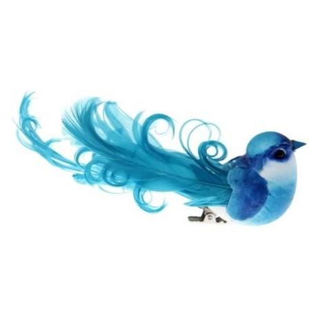 Oiseau Bleu Turquoise en Plumes sur Pince 12 cm les 2