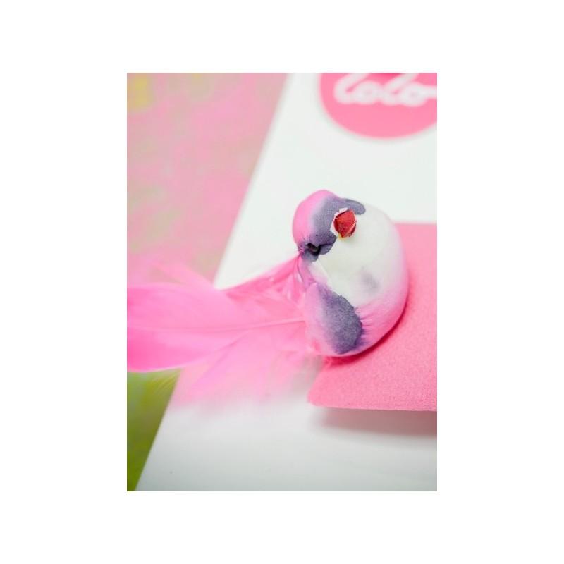 oiseau fuchsia en plumes sur pince 12 cm les 2 oiseaux. Black Bedroom Furniture Sets. Home Design Ideas