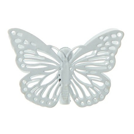 Papillon Métal blanc sur pince les 4 deco