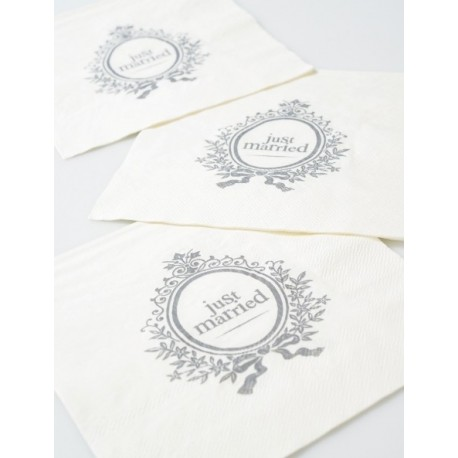 Serviette de table Just Married blanche en papier