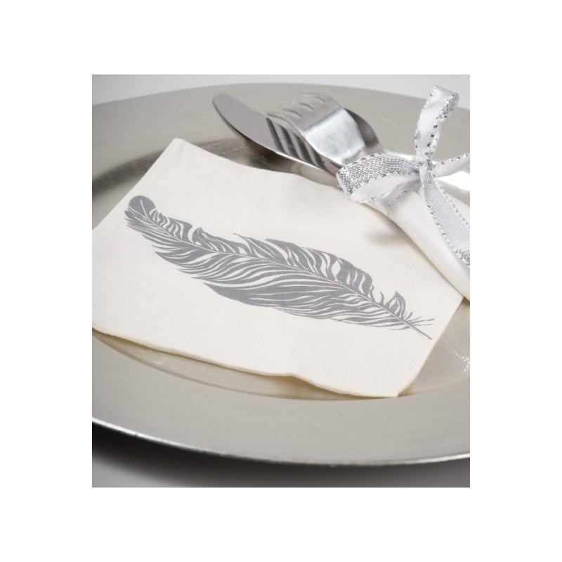Serviette de table plume blanc cass plume gris fonc en papier les 20 - Serviettes de table en papier ...