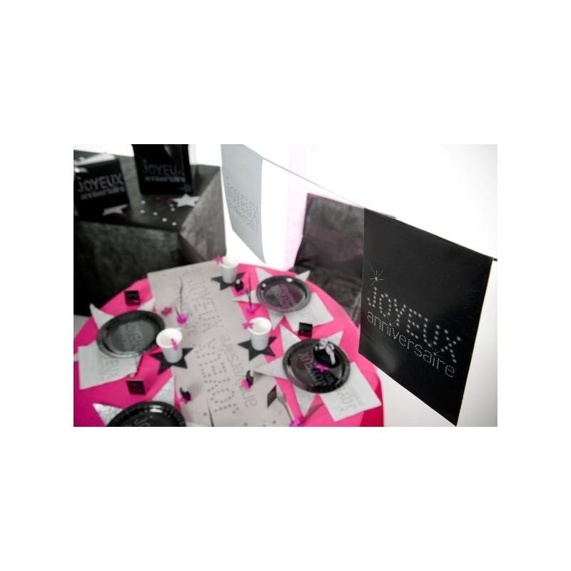 assiette joyeux anniversaire carton noir chic les 10. Black Bedroom Furniture Sets. Home Design Ideas