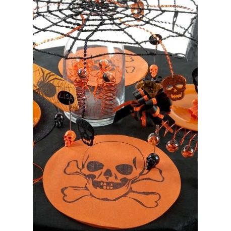 Set de Table Rond Tête de Mort Intissé Orange les 6