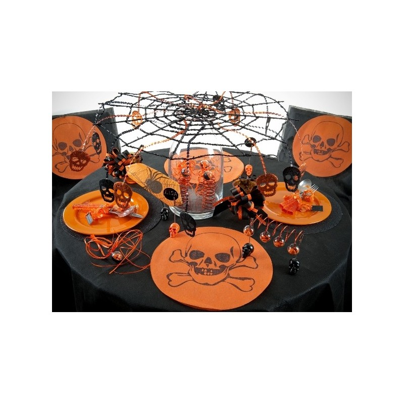 Sets de table ronds t te de mort intiss orange les 6 - Set de table intisse ...