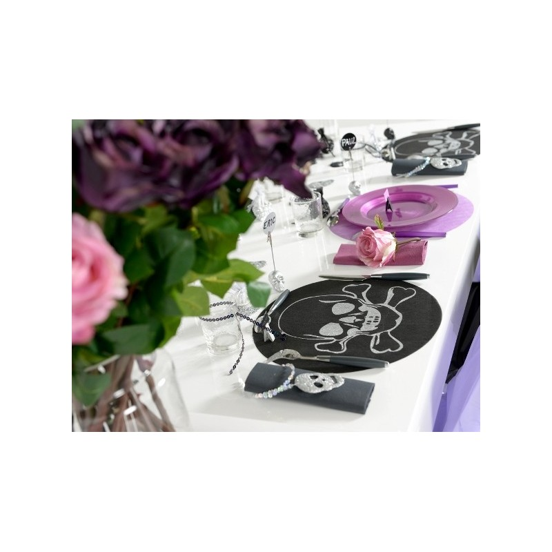 Sets de table ronds t te de mort intiss noir les 6 - Set de table intisse ...