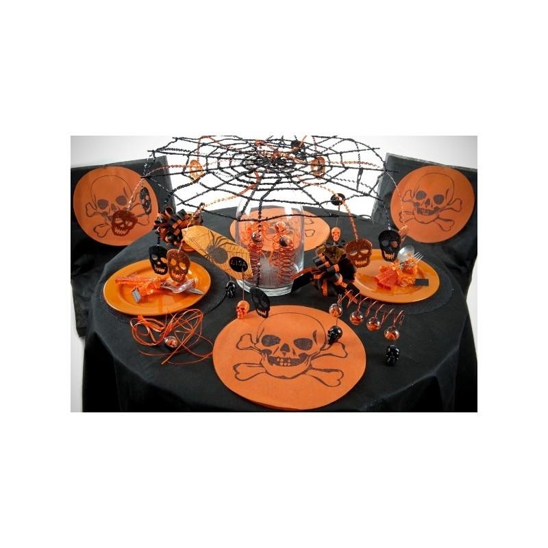 d co toile d 39 araign e halloween toile araign e noire m tal paillet 55 cm. Black Bedroom Furniture Sets. Home Design Ideas
