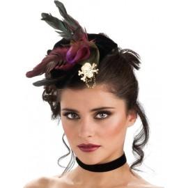 Mini Chapeau Pirate Gothique Noir avec Plumes Femme