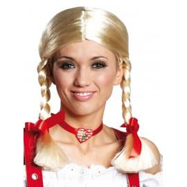 Perruque Gretchen blonde femme avec noeuds