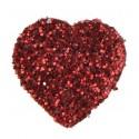 Confettis coeur pailleté rouge 1.5 cm les 50