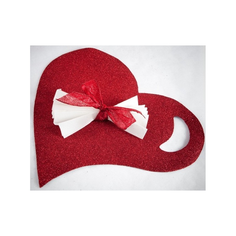Sets de table coeur rouge paillet 38 cm set de table - Set de table rouge ...