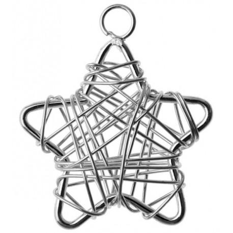 Etoiles Metal Argent Deco Festive 3 cm les 6