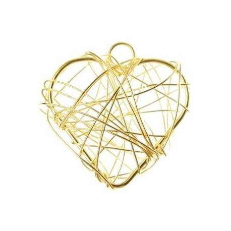 Coeurs Metal or Deco Festive 3 cm les 6