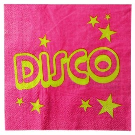 Serviette de table disco fuchsia papier les 10