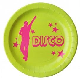 Assiette Disco Carton Vert Anis Motifs Disco Fuschia les 10