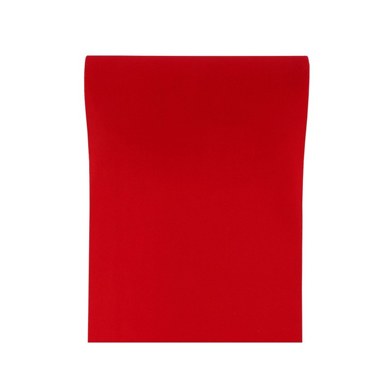 Chemin de table floqu rouge intiss velours chic for Chemin de table plastique