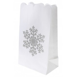Photophore Flocon Blanc Papier Ignifugé 26 cm les 6