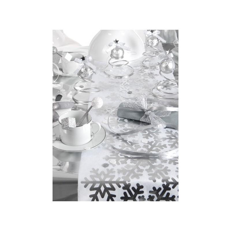 chemin de table flocon de neige argent intiss blanc. Black Bedroom Furniture Sets. Home Design Ideas