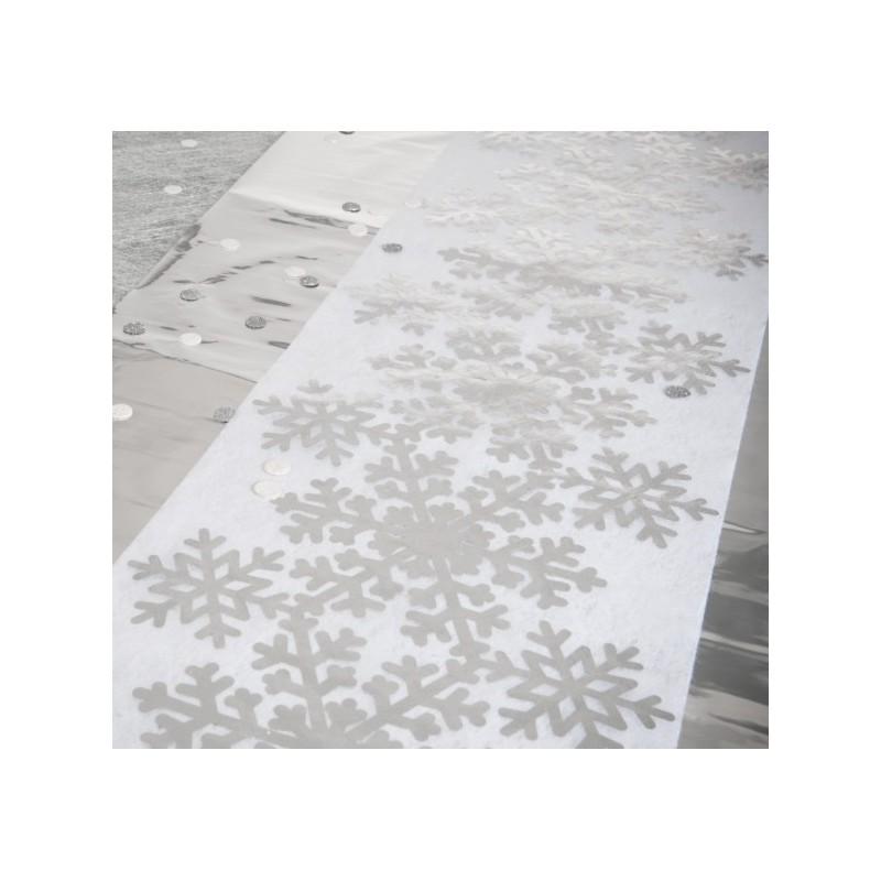 chemin de table flocon de neige argent intissé blanc