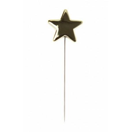 3 Piquets Etoile Metal Or Deco Festive 7 cm