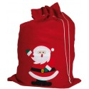 Sac de Père Noël rouge motif Père Noël 72 x 55 cm