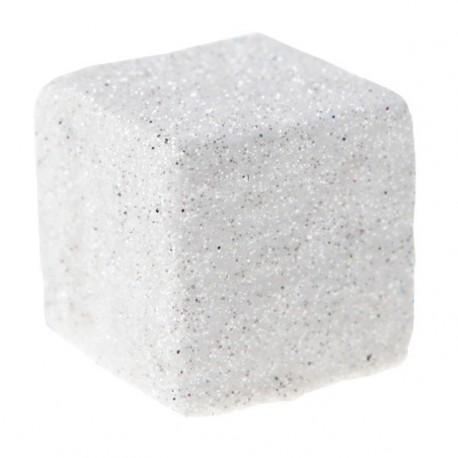 Cube paillete blanc deco festive 25 mm les 12