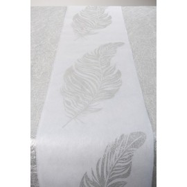 Chemin de table plume argent pailleté intissé blanc 5 M