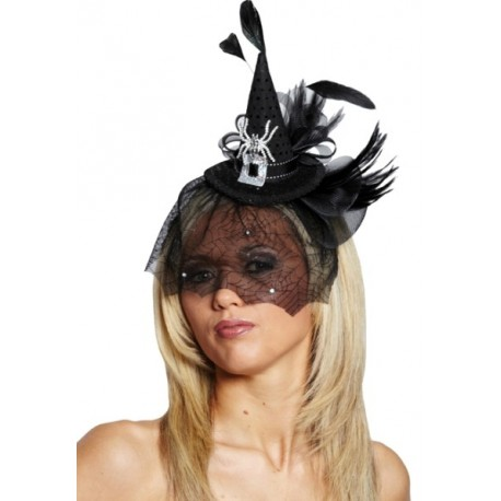 Mini Chapeau Sorcière Gothique Noir Chic Avec Araignée