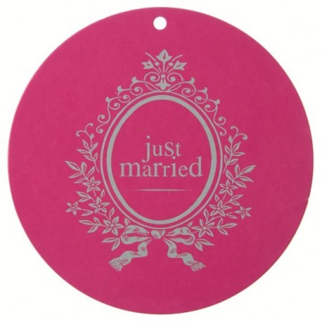 Marque Place Just Married Rond Fuschia 9.8cm les 10