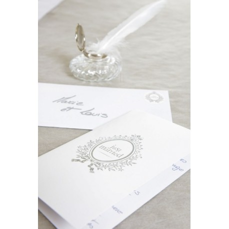 6 Cartes Just Married Blanches Cartes Invitation ou Menu