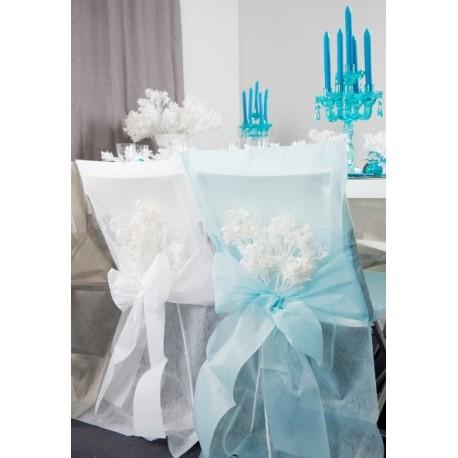 Housses de chaise Bleu ciel intissé uni avec Noeuds les 10