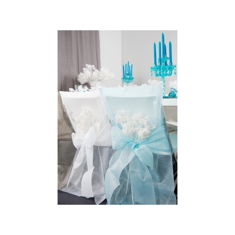 Housses de chaise bleu ciel intiss uni avec noeuds les 10 for Housse de chaise plastique