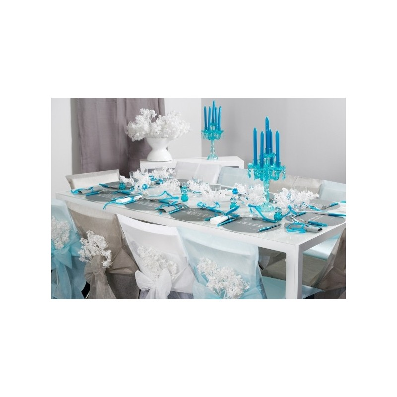 Housses de chaise bleu ciel intiss uni avec noeuds les 10 - Deco de table bleu ...