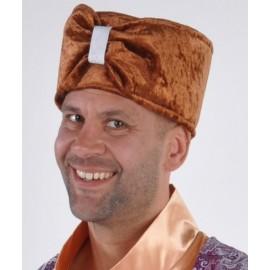 Chapeau 1001 Nuits Sultan Velours Brun Deluxe Homme