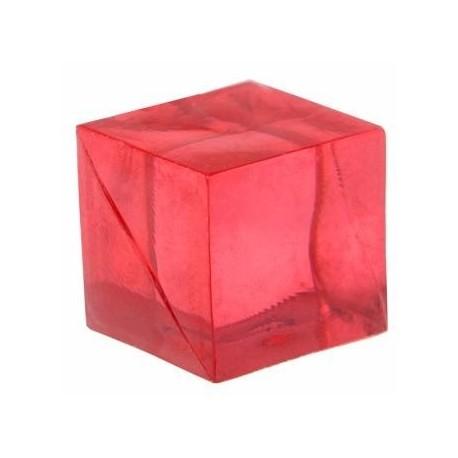Cube rouge transparent de decoration 15 mm les 12
