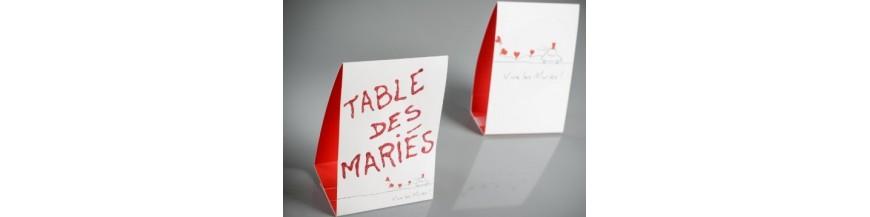 Marque table ardoise, Marque table