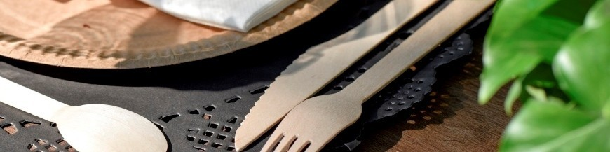 Couverts en bois jetable, couverts en plastique, pochette à couverts